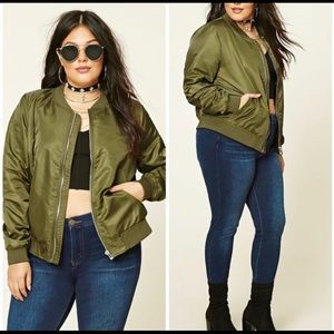 Army Green Bomber Jacket Plus Size